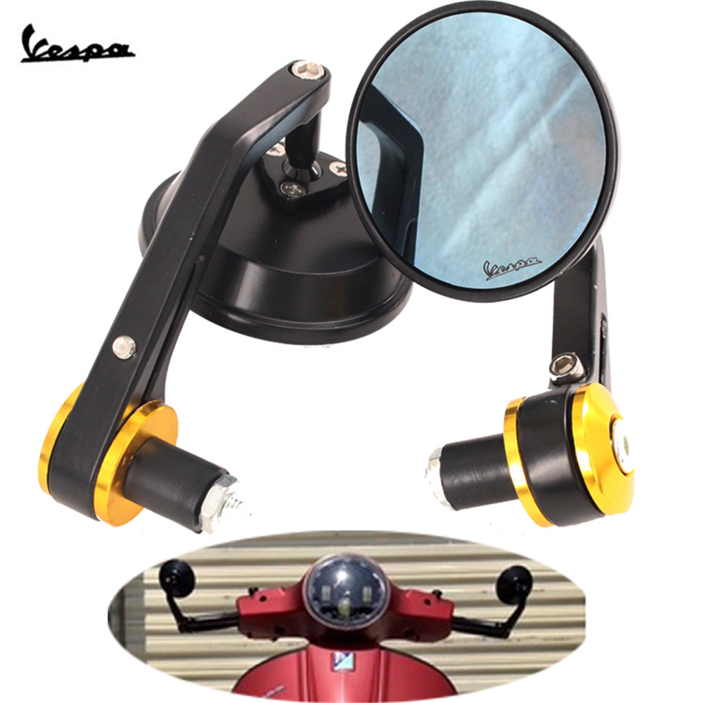 Motorcycle Mirror Aluminum  Handle Bar End Rearview Side Mirrors Accessories For Vespa GT GTS GTV 60 125 200 250 300 300ie
