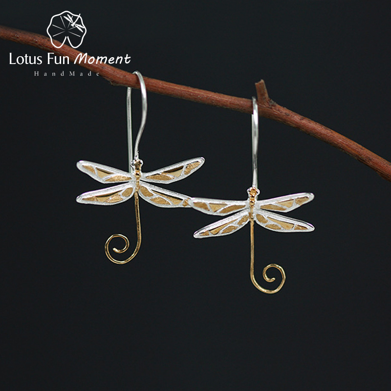 все цены на Lotus Fun Moment Real 925 Sterling Silver Natural Style Handmade Fashion Jewelry Cute Dragonfly Drop Earrings for Women Brincos