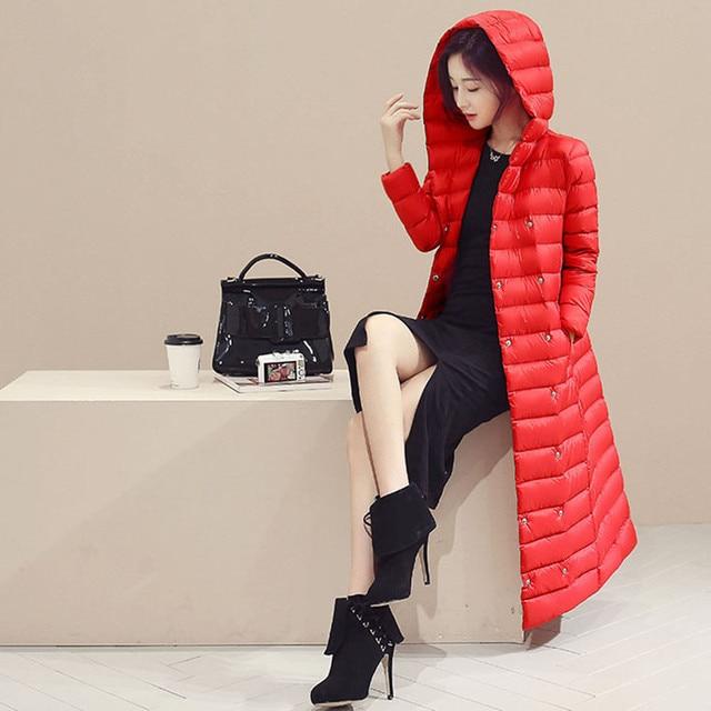 New2016 extra longo para baixo jaqueta de inverno pato branco Ultra peso leve da marca das mulheres para baixo casaco outerwear feminino das mulheres de inverno parkas