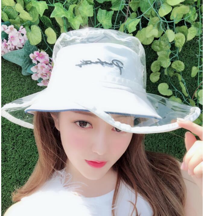 8744f6cafe93e Fashion Pvc Bucket Hat Caps Women 2018 Summer Beach Hat Transparent ...