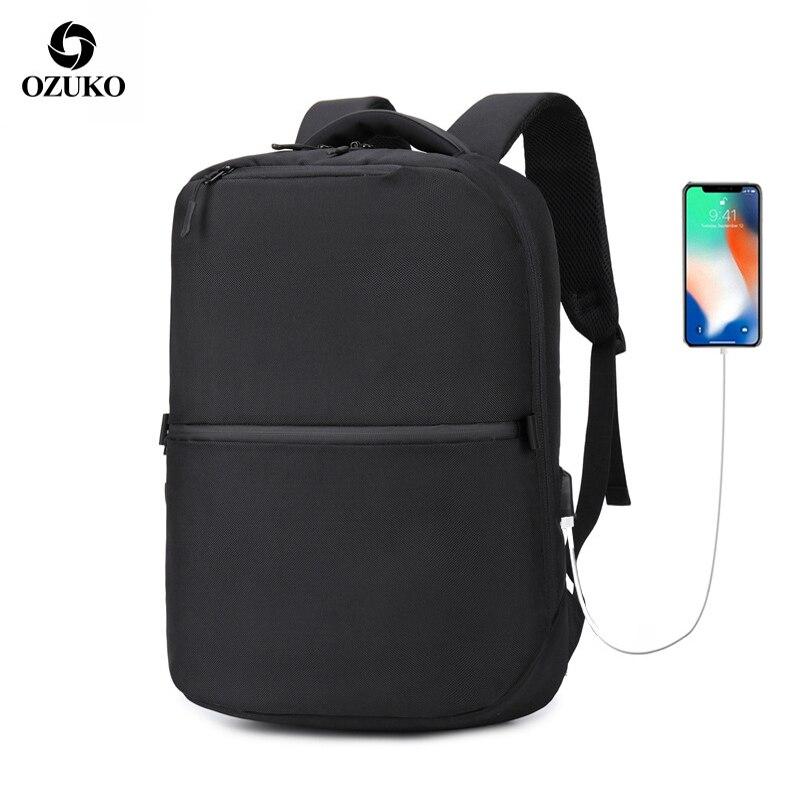 Sac à dos OZUKO Business sac à dos ordinateur Oxford étanche pour hommes sac à dos Usb de chargement sac de voyage pour jeunes sac antivol avec verrouillage par mot de passe