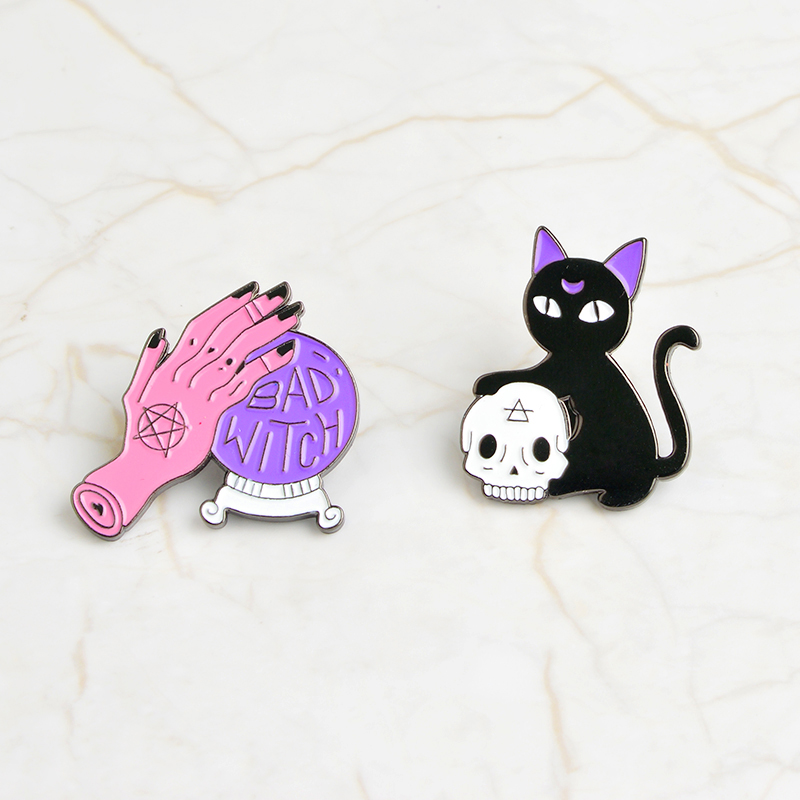 Charming black cat Forehead with Purple Moon and Hold Skull star hand stroking BAD WITCH crystal ball pin women accessories