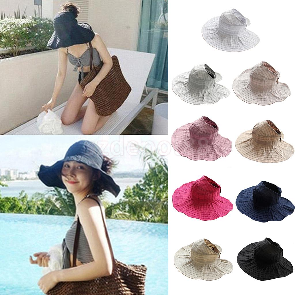 2016 Summer Women Foldable Wide Large Brim Floppy Beach Hats Outdoors Cap Sun Collapsible Anti-Uv Hat Visor