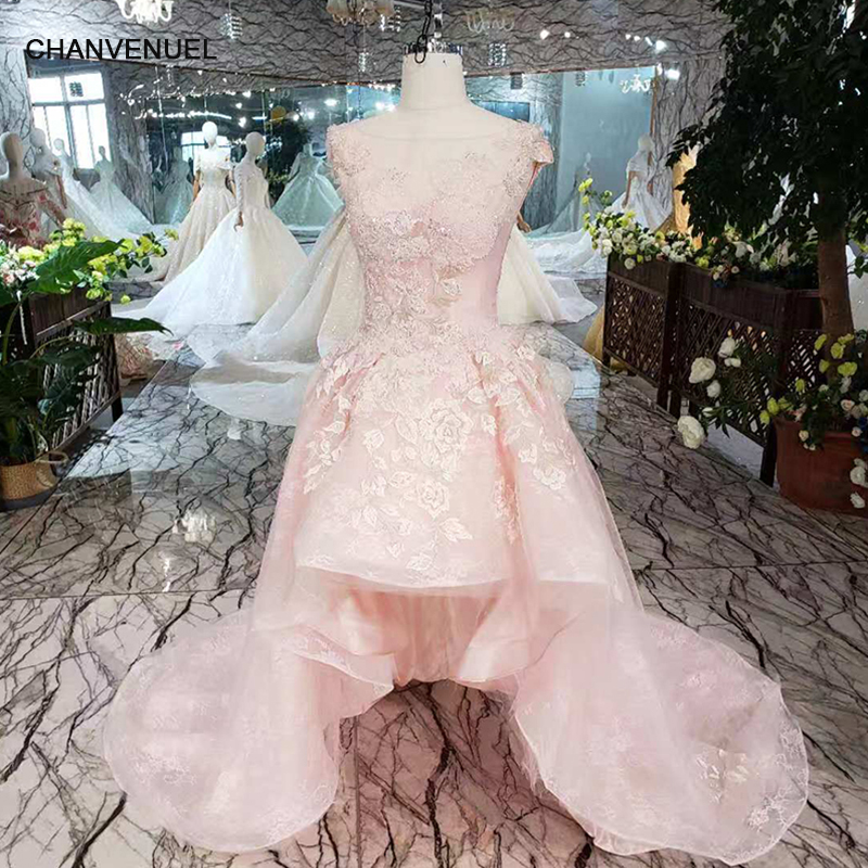 LS00278 pink cocktail dresses handmade beads and appliques o-neck sleeveless high/low party dress with brush train free shipping