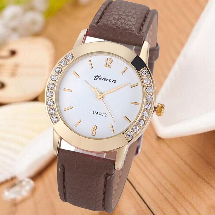 Creative Fashion Quartz Watch Casual Style Women Watches Rhinestone Analog Faux Leather Wrist