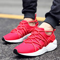 New Men Shoes Breathable Casual Mesh Flats Lacing-up Comfortable Lovers Basket Sport Trainers Zapatos Mujer Red Black Leisure