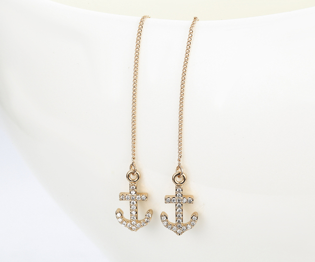Full CZ Zircon Anchor Charm Link Rose Gold Color Long Chain Drop