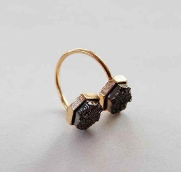 1 قطعة قابل للتعديل حجم الذهب اللون الأسود هندسية حجر خواتم للنساء سبائك النيكل الحرة wj389