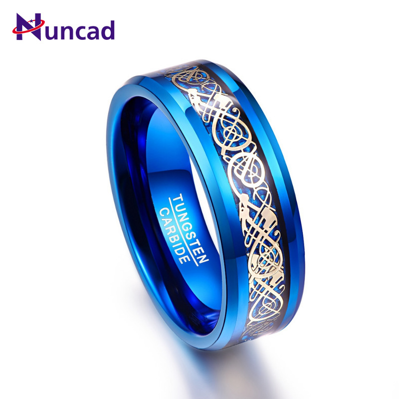 2019 blue plated beveled 8mm width 100% genuine wedding band gold dragon carved elegance tungsten carbide rings for men(China)