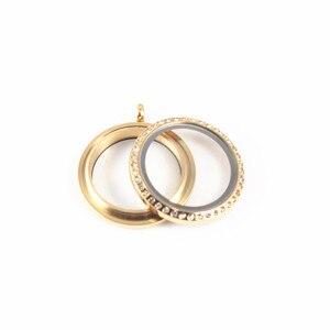 Image 2 - 5 قطعة/الوحدة مزيج 38 ملليمتر 34 ملليمتر 30 ملليمتر 25 ملليمتر 20 ملليمتر 316l المقاوم للصدأ وكيت diy المجوهرات قلادة الذهب الراين العائمة المدلاة للهدايا