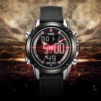 للماء الرقمية ووتش الرياضة العسكرية الرجال عارضة الكوارتز المعصم العرض المزدوج المنبه reloj hombre الساعات الإلكترونية