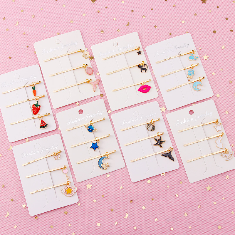 3pcs/Set New Sweet Women Girls Starry Sky Fruit Geometric Alloy Barrettes Headbands Hairpins Hair Clips Fashion Hair Accessories