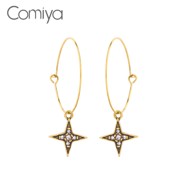 Comiya Fashion Dangle Earring Star Pattern Zinc Alloy Rhinestone Mosaic Gold Color Long  ...