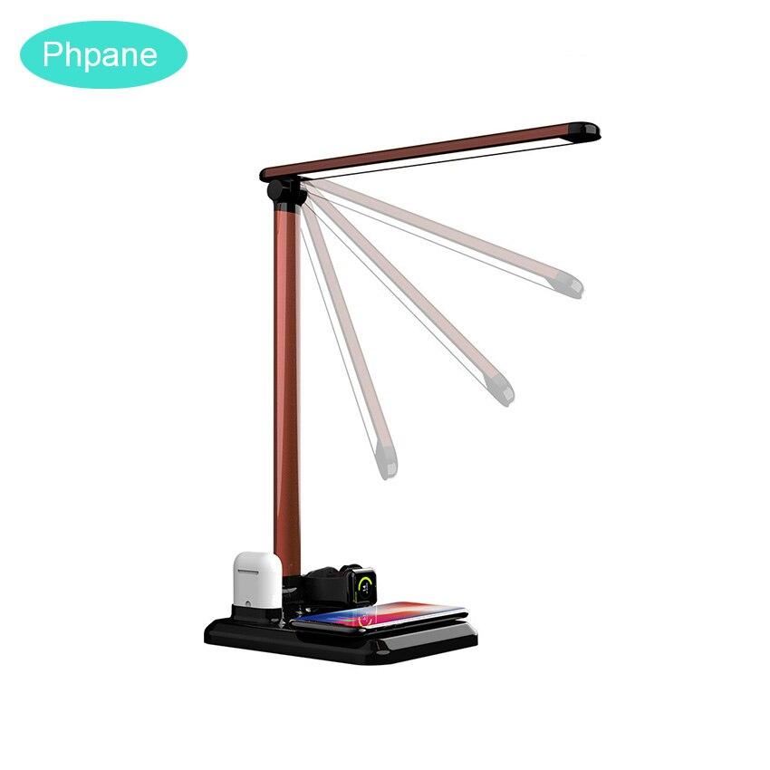 4IN1 Table Lampe USB Station De Recharge Rapide QI Sans Fil Chargeur de Téléphone portable Pour Apple Montre 234 Airpods Chargeur IPhone8 plus X XR