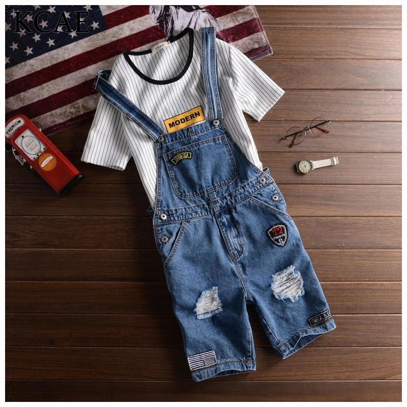Suspenders Jeans male jumpsuits Male denim overalls men shorts Trousers pants summer bib knee length hole ripped jeans men cool ripped hole blue denim overalls men denim jumpsuit bib pants suspenders trouser for man long slim jeans for male 063007