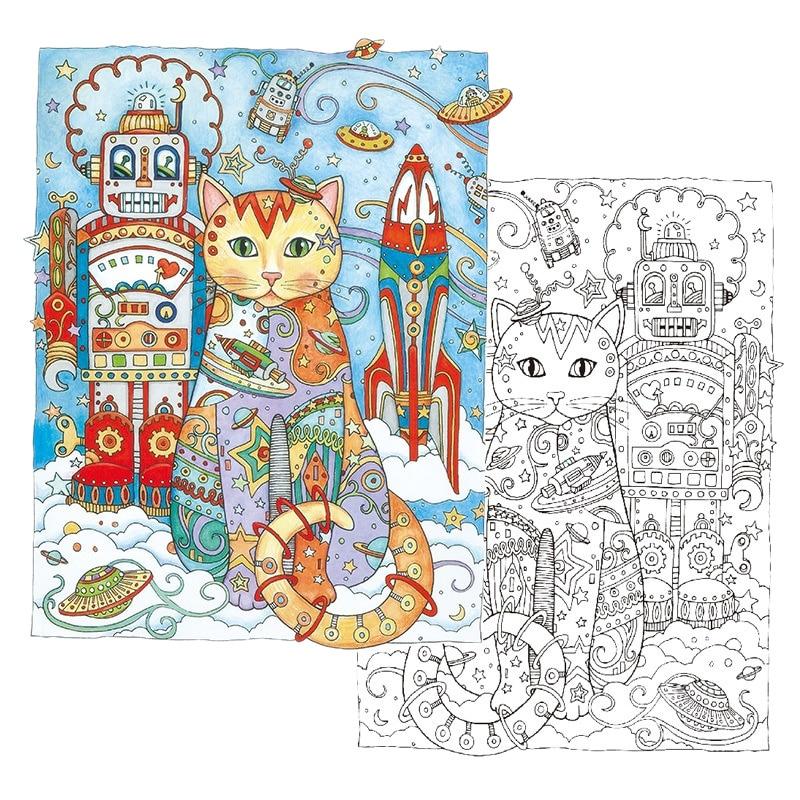 Educación Aprendizaje 24 páginas gatos creativos libro para colorear ...