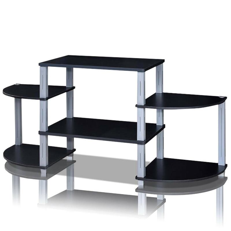 3-Cube Flat Screen TV Stand Storage Shelves MDF Black Brown TV Shelf Stylish and Smart Design Multiple Shelves for Extra Storage