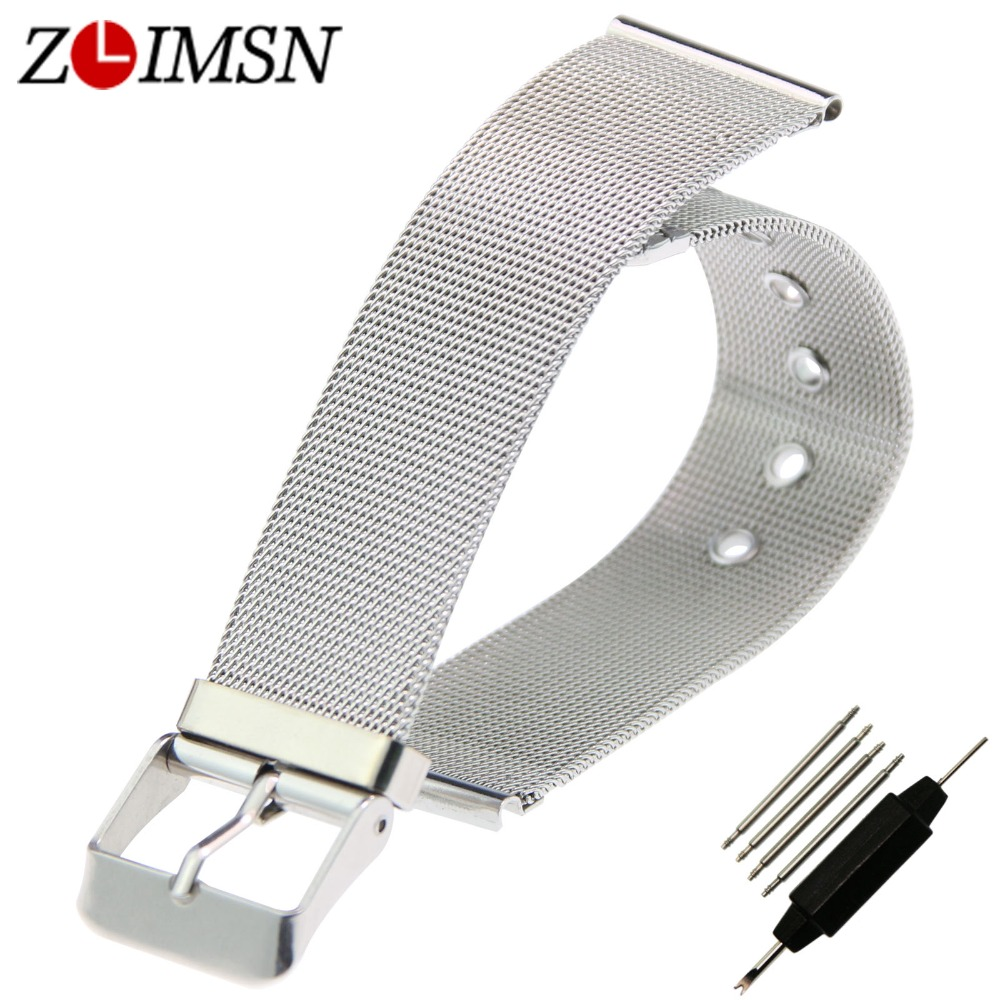 ZLIMSN Watchbands Stainless Steel Watch Strap Men Women Ultrathin Silver Mesh Band Bracelet Relojes Hombre 14mm 16mm 18mm 20mm
