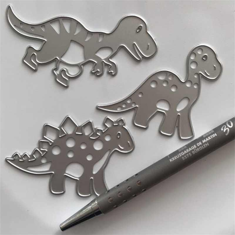 Ufurty Metal Cutting Dies 3PCS Lovely Dinosaurs Stencils for Scrapbooking DIY Photo Album Paper Card Decorative Craft Embossing