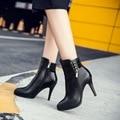 Mais Mulheres do Tamanho Botas 2017 Plataforma Botas de Salto Alto Tornozelo Bombas Sapatos Mola Mulher Outono Bota Sexy Ladies Sapatos Calçados