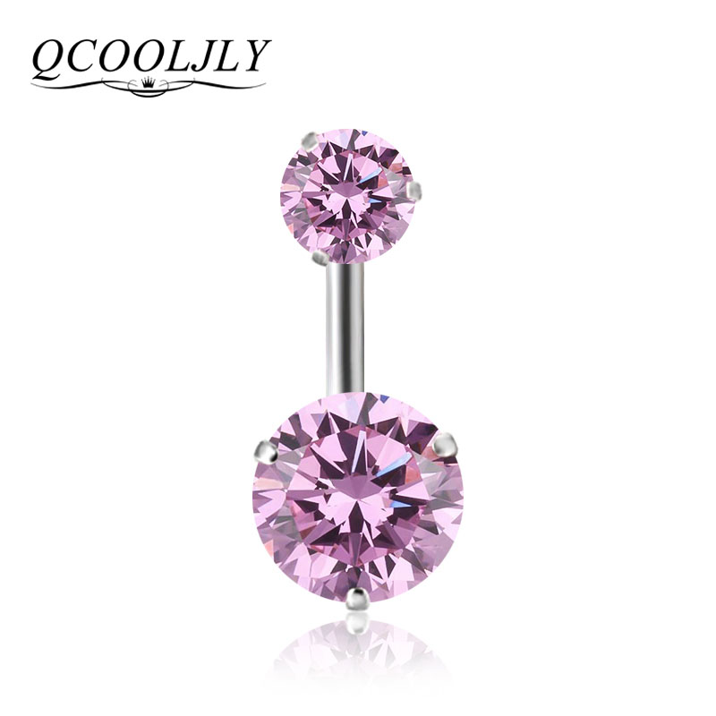 QCOOLJLY New Brand AAA Zircon Style Crystal Body Jewelry Belly Button Ring Body Piercing Navel Piercing Silver Color Ombligo(China)