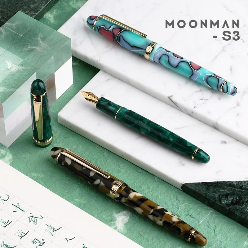 Moonman S3 Acrylic Resin Fountain Pen Iridium Extra Fine / Fine Nib 0.38 / 0.5mm Writing Ink Pens Gold Trim with Gift Box Set