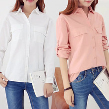2017 New Spring Women Blouse Casual Loose Leisure Long Sleeved Cotton Shirt Woman Office Work Shirts For Business Lady Blusas