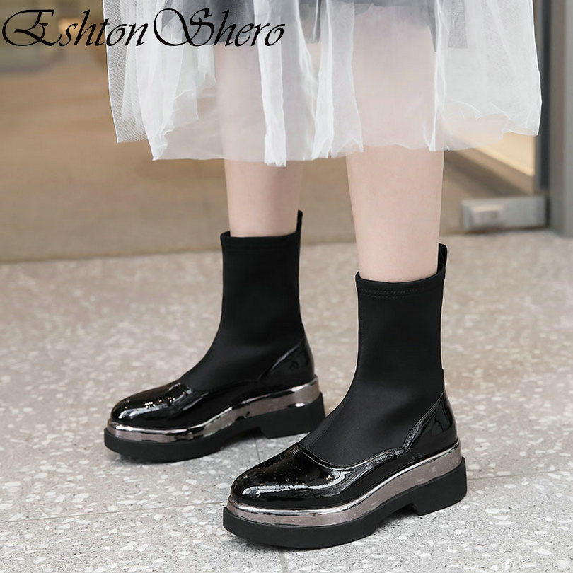 Dames Eshtonshero Talons Med En Chaussures Moto Bottes Pu Cuir Noir 35 40 Femmes Hiver Rond Bout Taille Femme Cheville cfWxqfSC6n