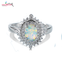 COLORFISH Vintage Ring For Women Oval Cut 1 25 Ct Opal Luxury Jewelry Female CZ 925