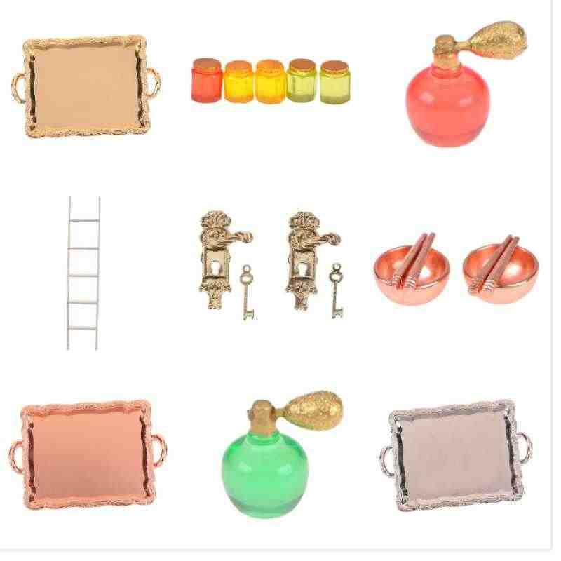 Aksesoris 1/12 Skala Miniatur Vintage Pintu Kunci dan Kunci/Putih Tangga/Madu Pot/Peralatan Makan/Parfum/ makanan Botol/Dollhouse DIY