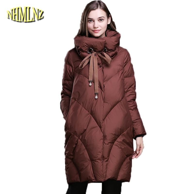 Solid Long   Down   Jacket Women 2019 Autumn Winter Loose Jacket 90% White duck   down   Stand neck Long sleeve Warm   Coat   Female DAN198