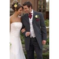 Custom Made Four Button Charcoal Grey Groom Tuxedos Best Man Groomsmen Men Wedding Suits Jacket Pants