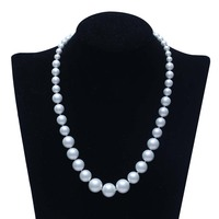 10 14MM WHIT SALTWATER SHELL MOTHER OF PEARL NECKLACE 18 Beads Jewelry Making Wholesale Price