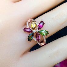 Кольцо с турмалином натуральный турмалин 3*6 мм* 6 шт. драгоценный камень в ювелирные изделия 925 серебро цветок стиль
