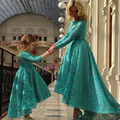 Turquoise Evening Dresses Short Front Long Back Lace Long Sleeves Hunter Mother and Girls Matching Dresses Formal Dress