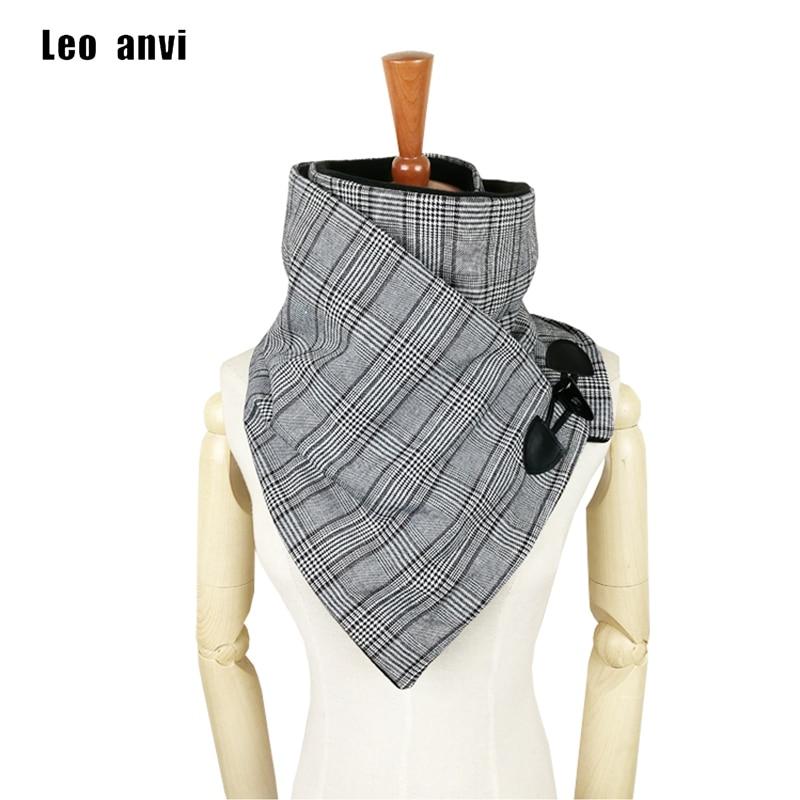 Leo anvi plaid Houndstooth wool winter women men scarf fashion shawl neck wrap scarves wrap Unisex scarf  Horn Toggle Closure