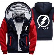 2016 Winter The Flash Jackets men hipster Coat Anime Justice League Hooded fashion Thick Zipper Sweatshirt fleece tracksuit down