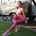 S-QVSIA 2016 Nova Dot Printing Leggings Esportivos Mulheres Legging Mulheres Leggings Com Painéis de Poliéster Super-Elástico de secagem Rápida