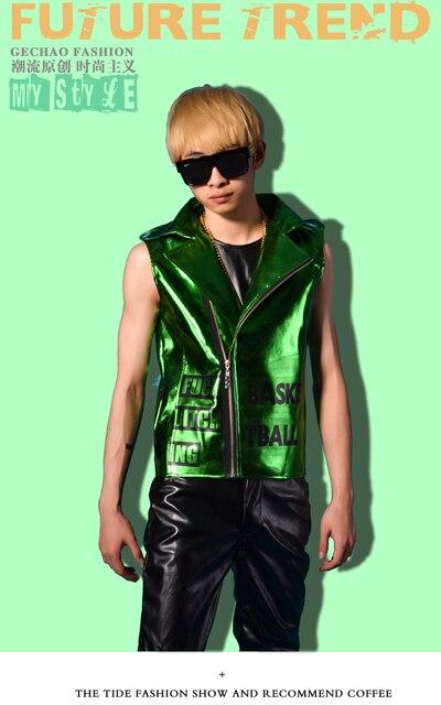 M-5XL Сияющий зеленый локомотив кожаный костюм жилет ночной клуб этап DJDS бар Мужчины Этап певица жилет костюмы этап платье