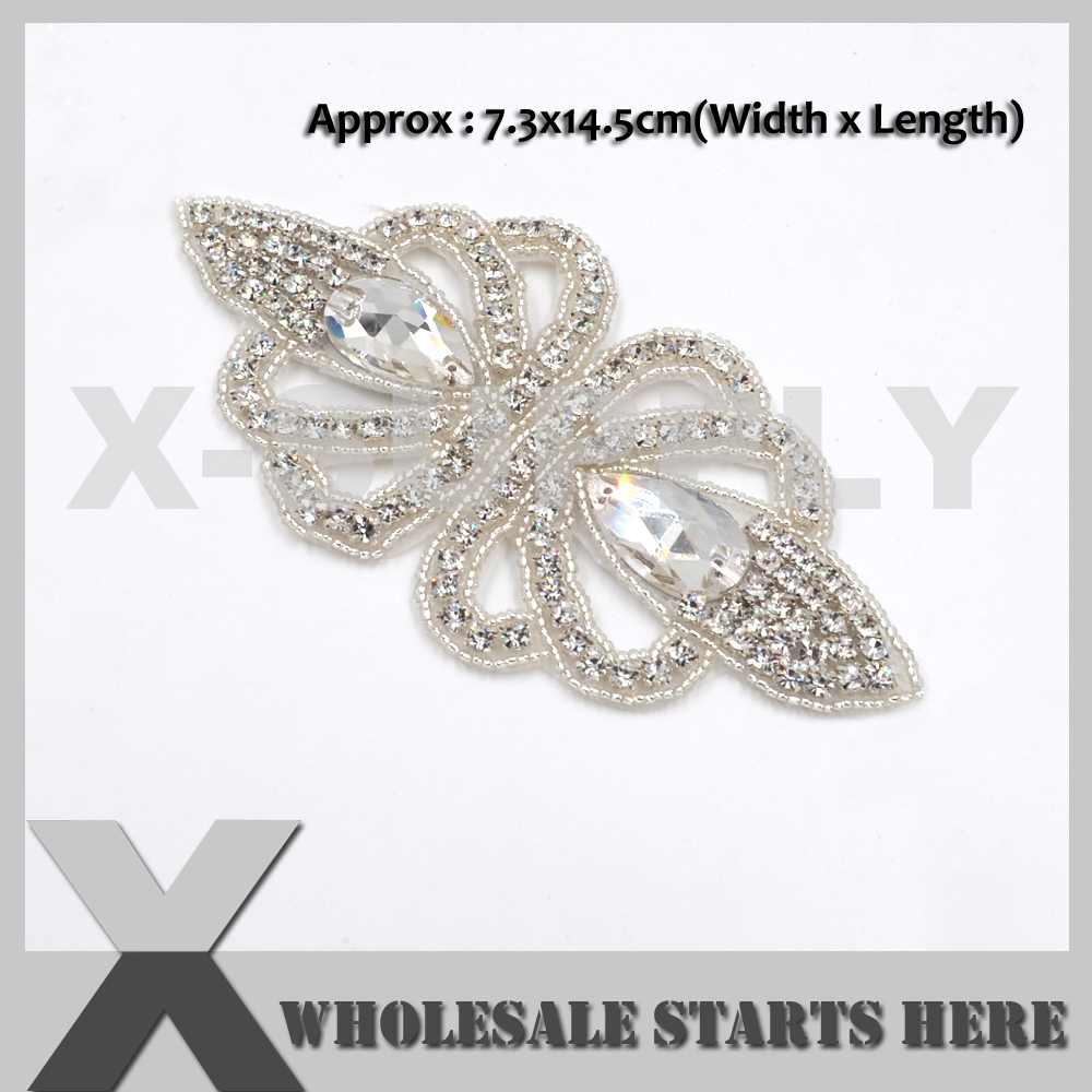 (14cm Length) Butterfly Iron On Clear Rhinestone Pearl Applique Patch for Wedding Dress,Baby Hair Decoration,X1-RAT2517