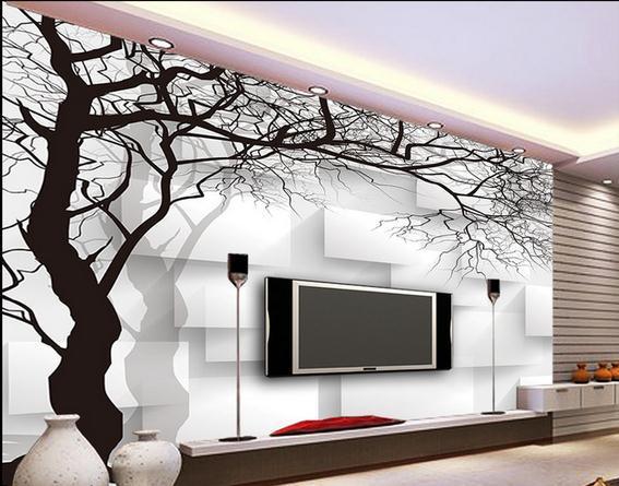 Kertas dinding pohon hitam dan putih kotak non woven for Mural hitam putih