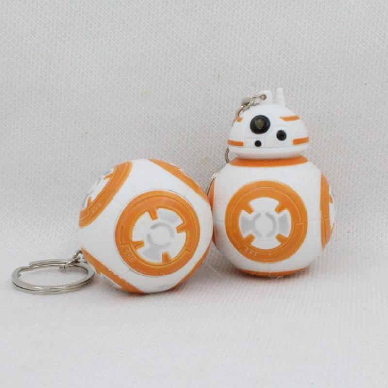 High Quality Star Wars BB-8 Droid Robot Action Figure LED Keychain Flashlight Keyring With Sound Best Toy Gifts