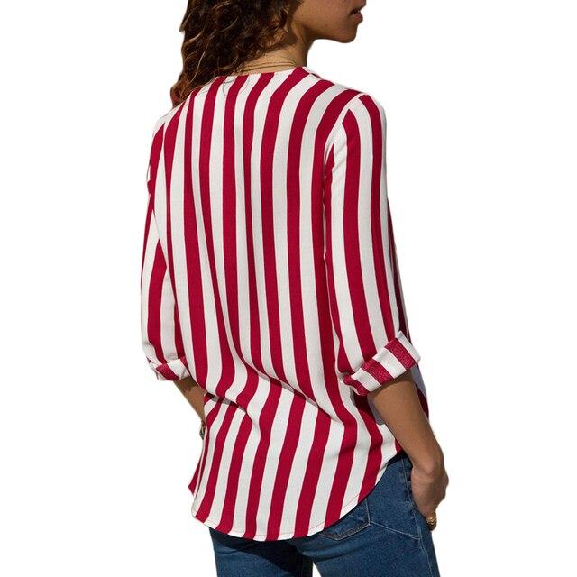 Women Striped Blouse V-neck Long Sleeve Blouses Shirts Casual Tops Work Wear Chiffon Shirt Plus Size Blusas Mujer De Moda 2020 5