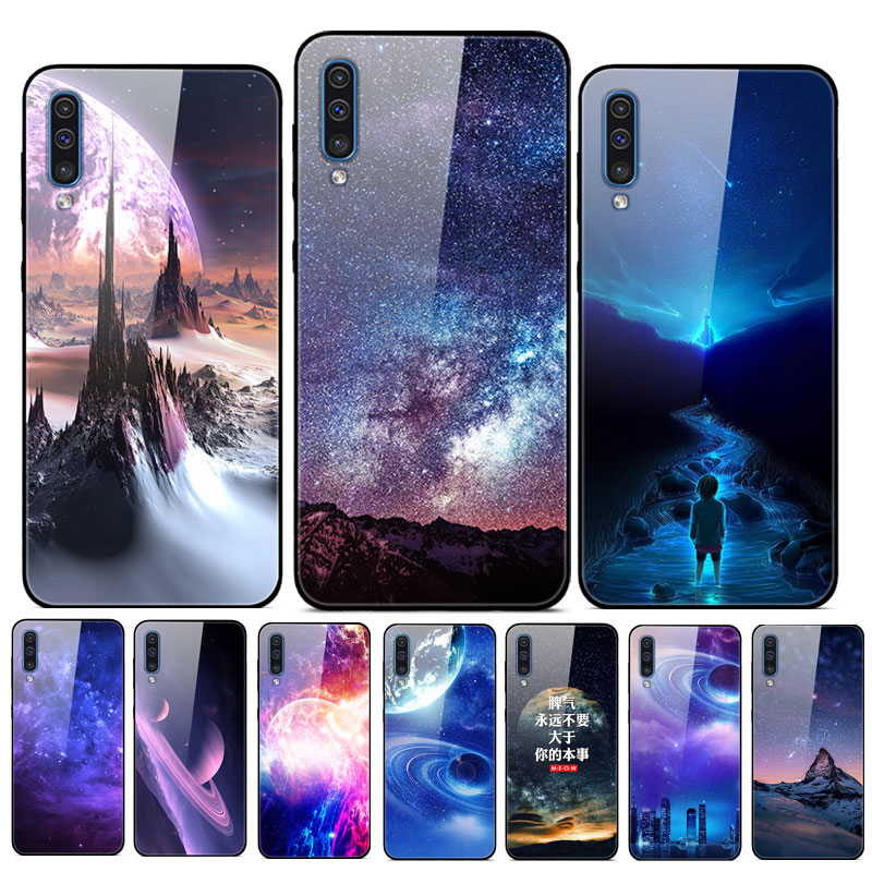 For Samsung Galaxy A30S A50S Phone Case Tempered Glass Planet Hard Back Cover For Funda Samsung A30S Case Cover A 30S Bumper image