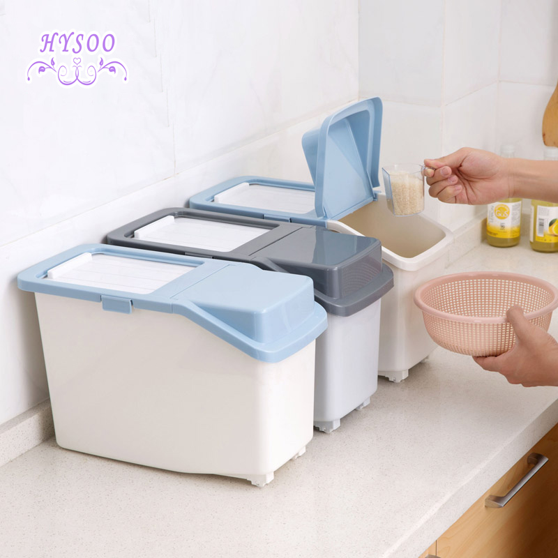Increase the number of 20 pounds plastic pest control box moisture - proof rice barrels household kitchen rice storage box