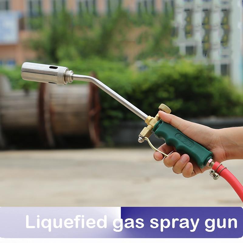 US $16 8 |Liquefied gas spray gun head torch spray gun gas burn pig hair  home torch waterproof high temperature baking natural gas-in Welding  Torches