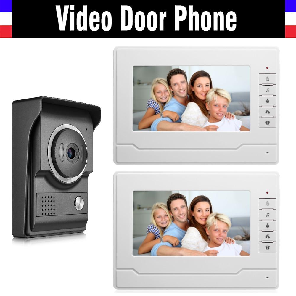 7 Inch Video Door Phone System Video Intercom Doorbell Video Doorphone Kit 2 LCD Monitor+1 IR Night Nision Camera For Home Villa