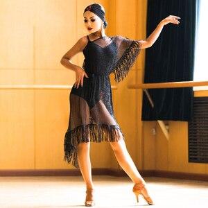 Image 2 - Yeni Latin Dans Elbise Siyah Örgü Saçaklı Elbise Cha Cha Salsa Samba Karnaval Kostümleri Bayanlar Uygulama Performans Giyim DNV10190