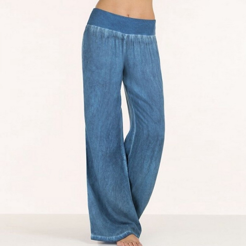 OEAK Casual Loose   Wide     Leg     Pants   Women Plsu Size 5XL Blue Black Long   Pants   Solid Mid Waist Trousers Female pantalon mujer