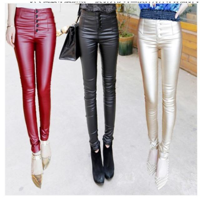 2015 - coated with PU cashmere leather pants female slim slim stretch wear leggings skinny pants